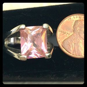 Lia Sophia silver ring with a pink stone - Size 7